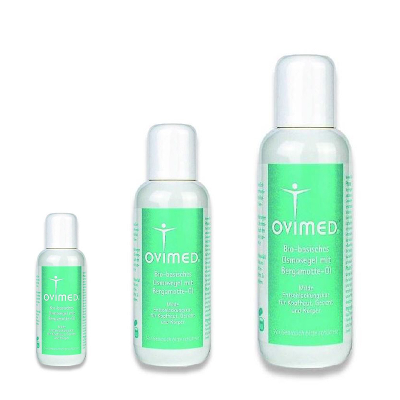 Ovimed Bio-basisches Osmose Gel mit Bergamotte-Öl, Milde Entschlackungskur für Kopfhaut, Gesicht und Körper