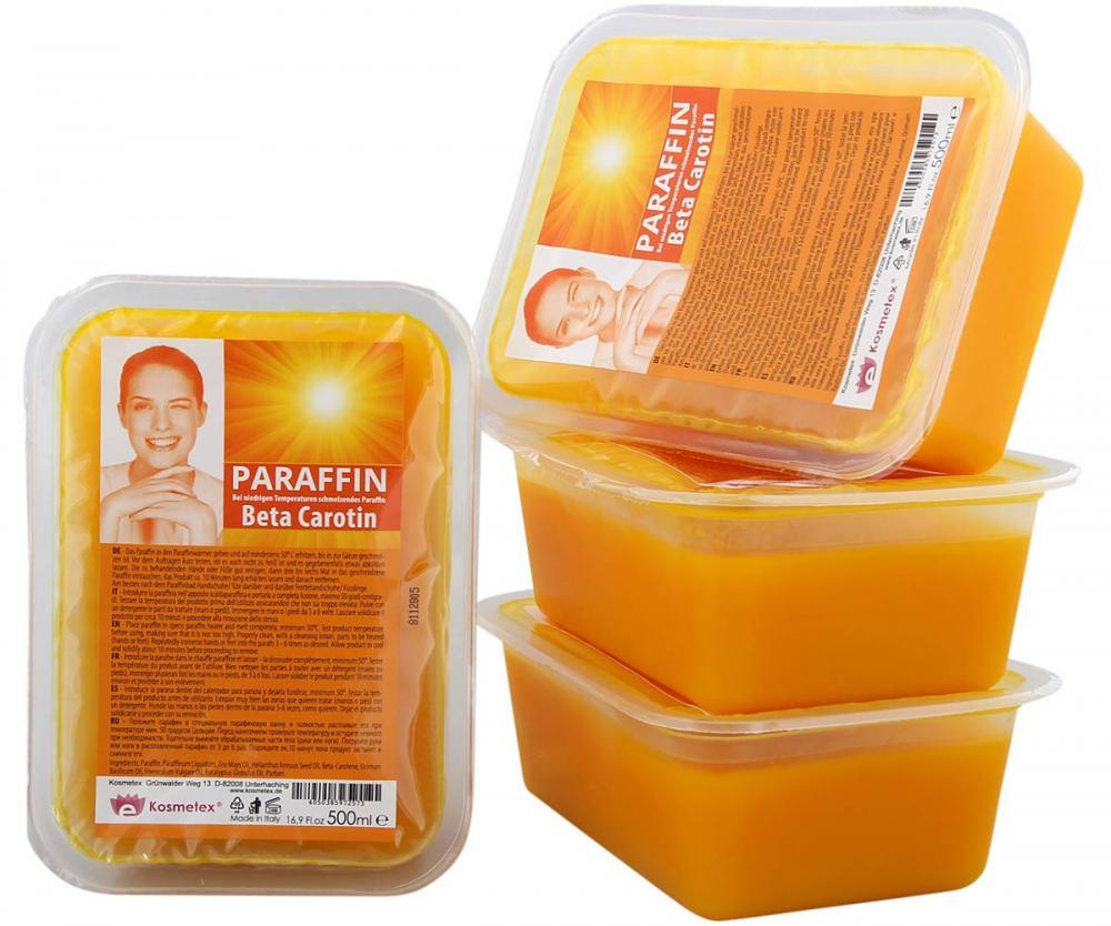 Kosmetex Paraffin-wachs Beta Carotin, Paraffinbad Wachs mit niedrigeren Schmelzpunkt 4x 500ml