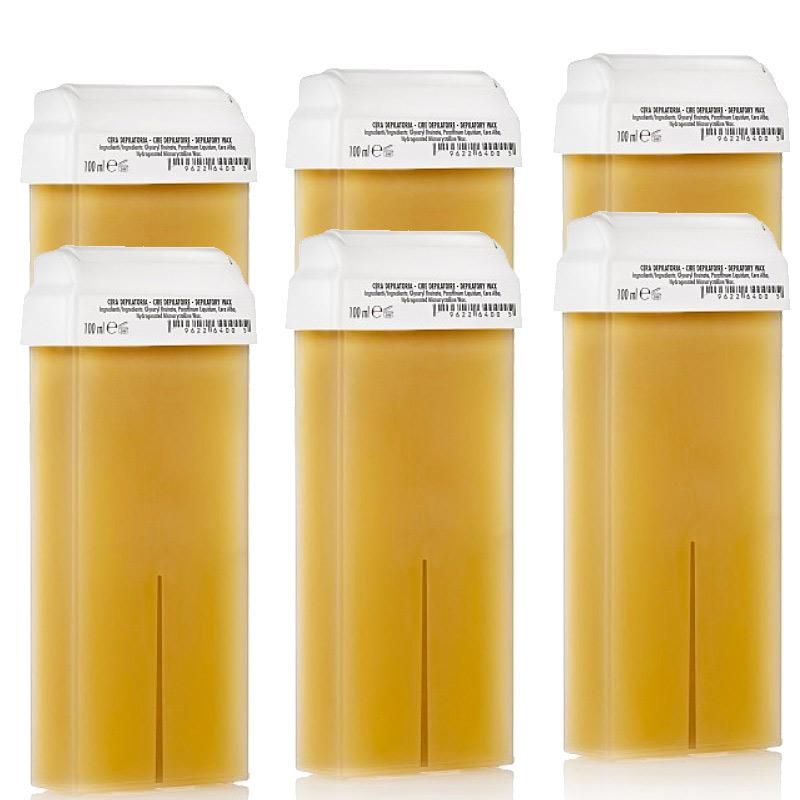 Kosmetex Honig Wachspatrone Breit, Enthaarungswachs, Warmwachspatronen, Körperpflege Haarentfernung, 100ml 6 Stück