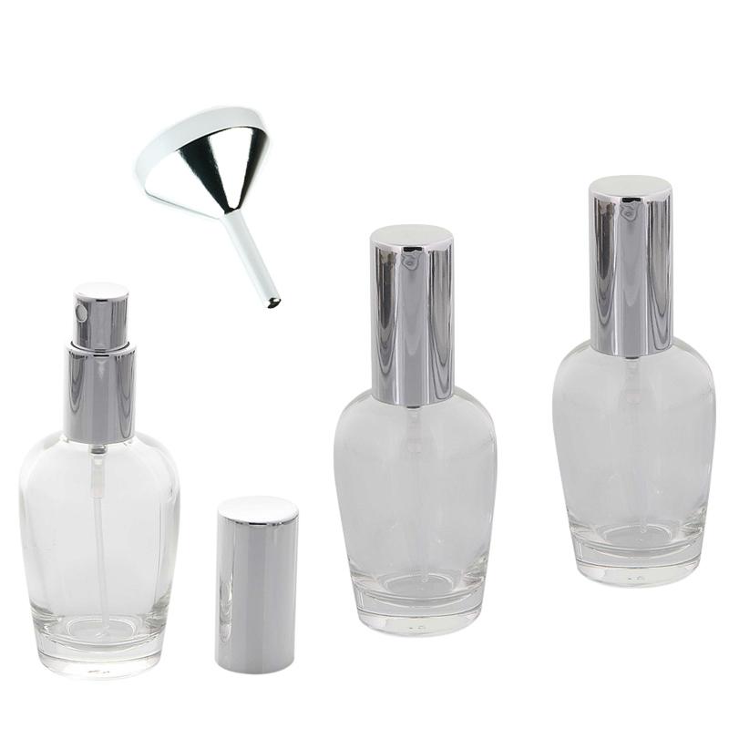 Kosmetex Parfümflakon Glas mit Zerstäuber, 30ml Flakon Flaschenform für Parfum, Colognes, leer 3 x silber + Trichter