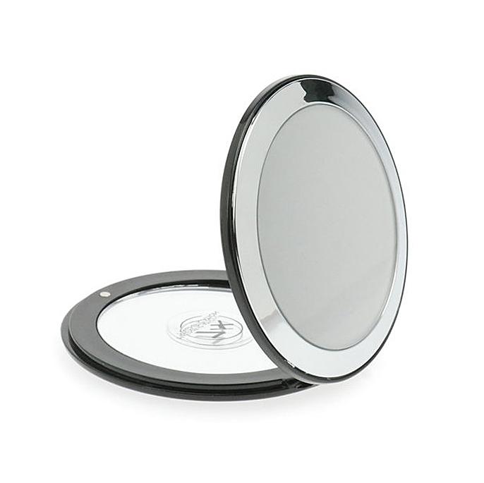 Taschen-Spiegel Kosmetex mit 7-fach Vergrößerung und Magnetverschluss, Spiegel Ø 8.5 cm Silber