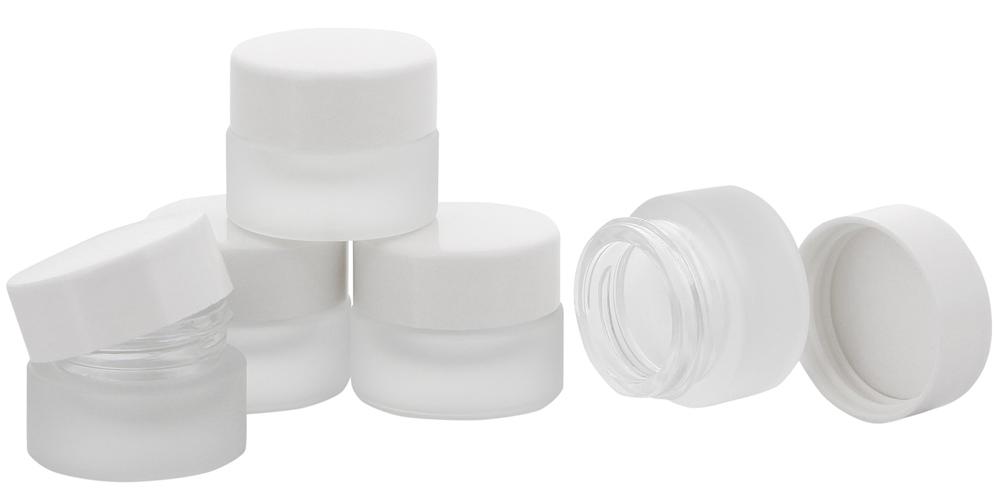 Matt Glastiegel 15ml m. weißen Kunststoff-Deckel, Leerer Tiegel, Kosmetex Glasdose 5× weiß