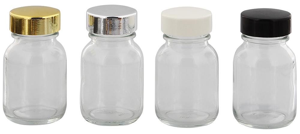 Klarglasflasche m. Kunststoff Deckel, Weithals-Flasche, 50 ml Kosmetex Glasdose aus Klarglas, leer