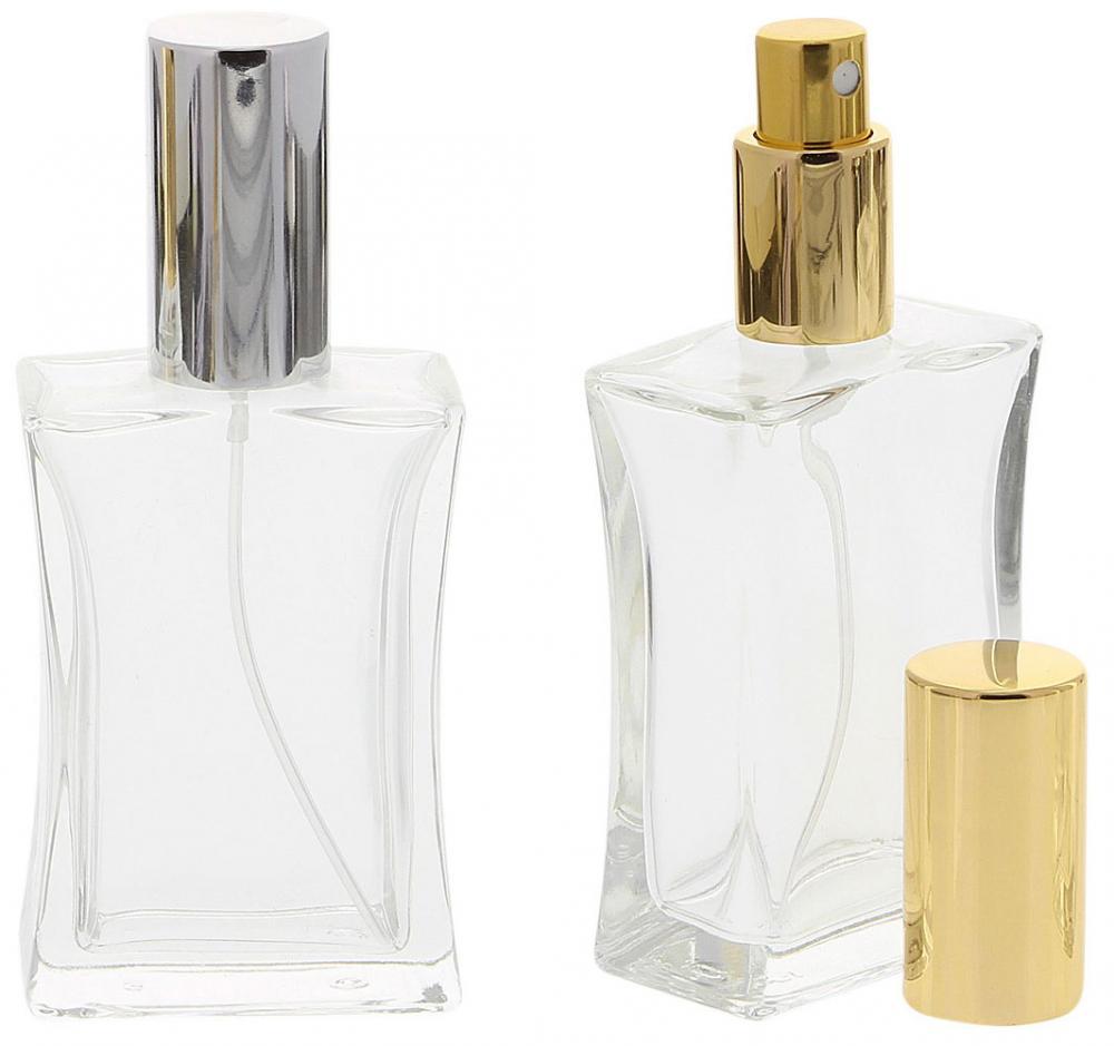 Kosmetex leerer, eckiger Glas-Flakon, 50 ml mit silberner oder goldener Parfüm-Zerstäuber