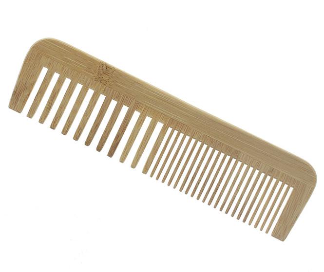 Kamm aus Bambus, 14cm, breite Zinken für langes oder lockiges Haar