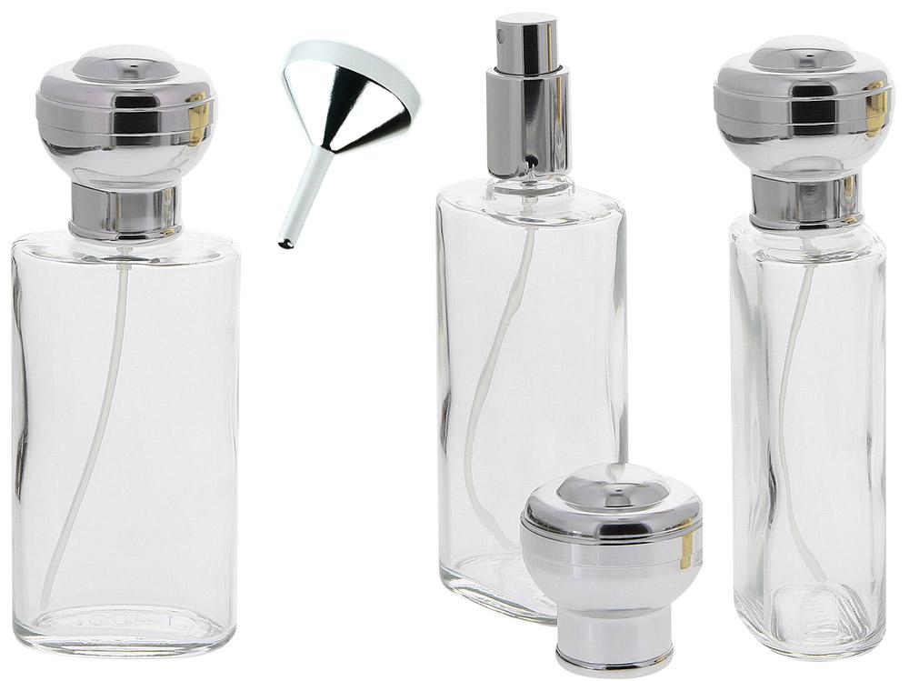 Ovaler Glas-Zerstäuber, 100 ml m. großer Kugel-Kappe u. Trichter Kosmetex Parfüm-Flakon 3x Silber +Trichter