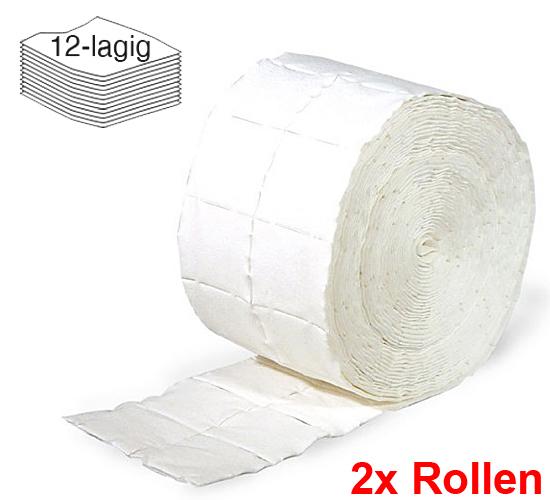 2x Rollen Kosmetex Zellstofftupfer Zelletten, Pads, Tupfer aus hochgebleichtem Zellstoff 12-lagig, 5x4 cm, 1000 Stück