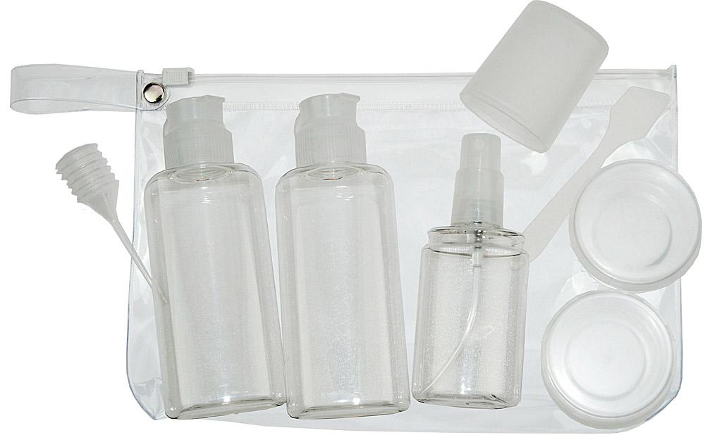Travel-Set Kosmetex mit Flaschen, Dosen für Flüssigkeiten und Cremes im Handgepäck, Flugzeug, Reise-Set, 8-teilig