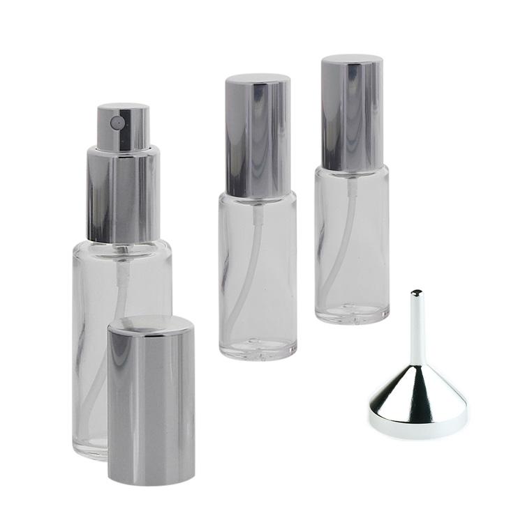 Runder Klarglas Kosmetex 20ml Flakon mit silber. Zerstäuber plus Trichter 3x Silber +Trichter