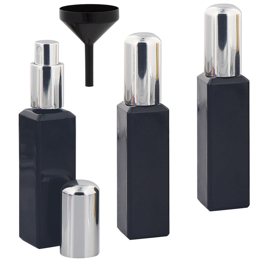 Glas-Flakons mit Zerstäuber, 30ml Kosmetex Parfüm-Zerstäuber, schwarz 3er Set