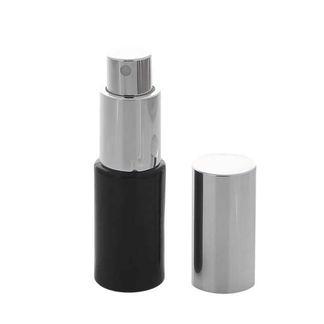 Parfümflakon Kosmetex Zerstäuber, schwarzes Glas 10ml Flakon für Parfum, Cologne, leer mit Zerstäuber Silber