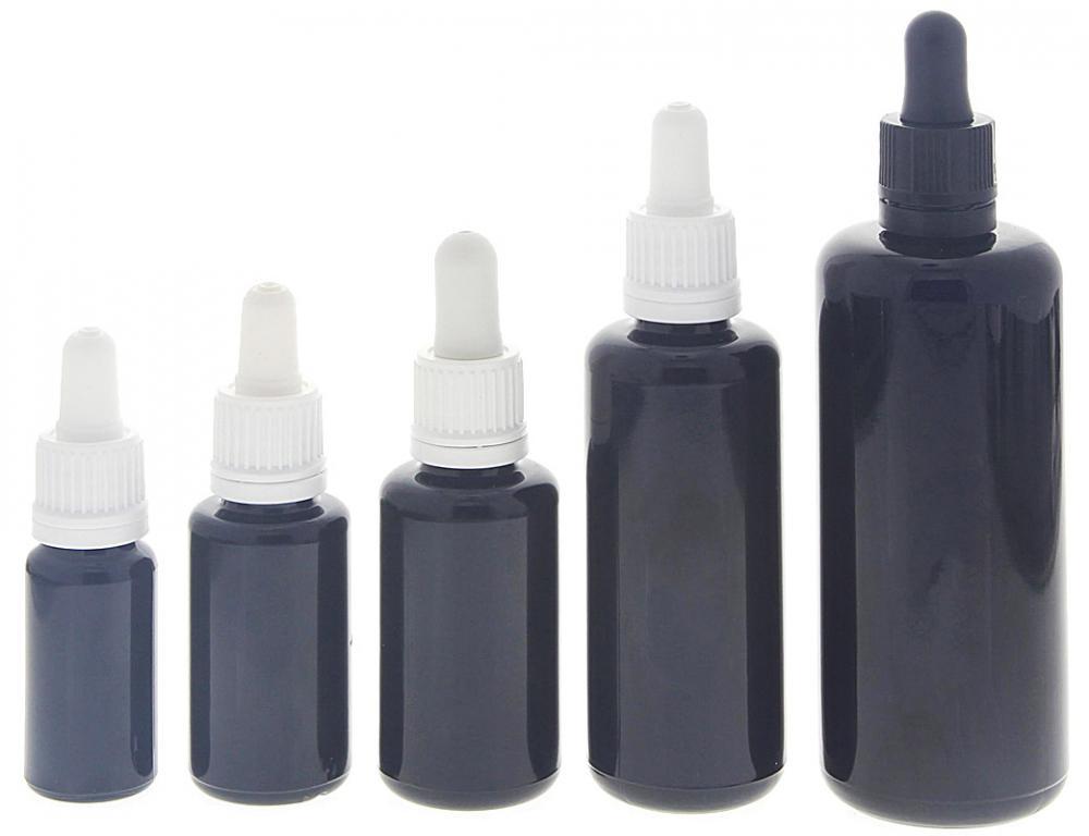 Miron Violettglas-Flasche mit Pipette, leere violette Mironglas Glas-Flasche, Kosmetex Pipettenflasche mit Pipettenmontur. 5er MixSet