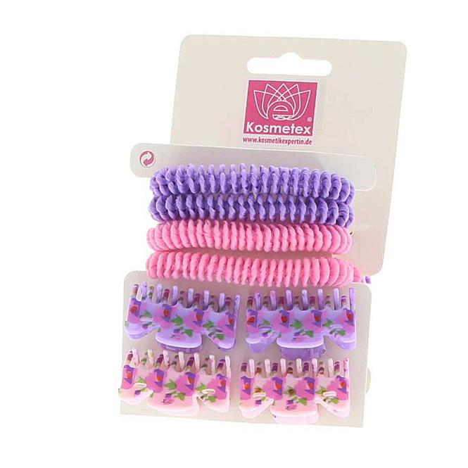 Haarschmuck Sets, Haargummis, Haarklammern und Clipse, Lila, Violett, Rosa Set 1