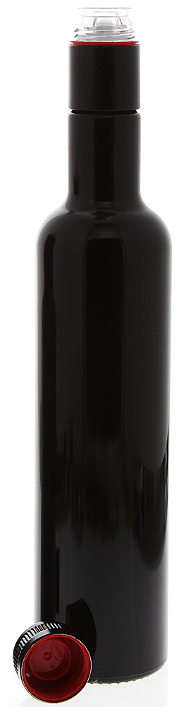 Mironglas Ölflasche 500ml m. Gießring, Violett-Glas Essig-Flasche, Kosmetex Lichtschutz-Flasche Miron, rund 1× 500 ml