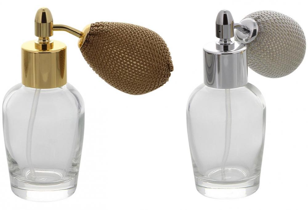 Bauchiger mini Glas-Flacon, Tisch-Zerstäuber für Parfüm, Kosmetex Pump-Zerstäuber silber, 10 ml
