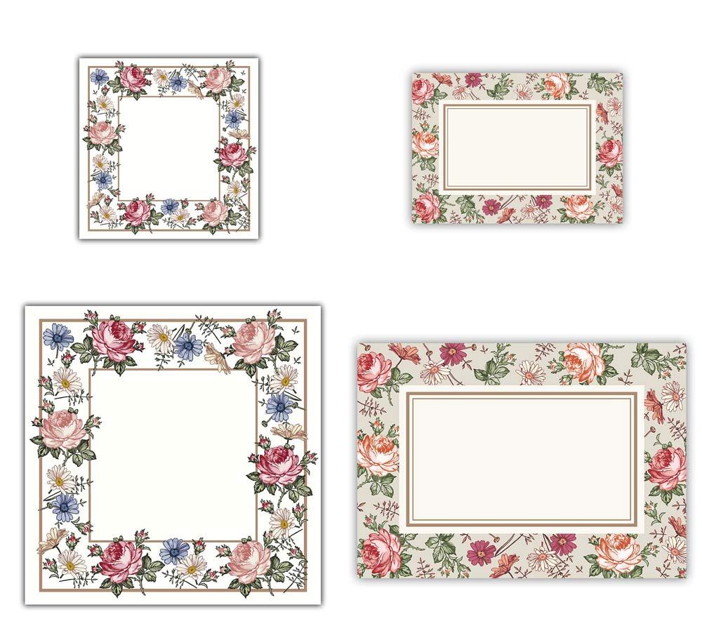 100x Mix Rose Rahmen, 2 Größen, Kosmetex Aufkleber Beschriftung für Kosmetik, Parfüm, Aroma, Öl für Flaschen, Dosen 100x Mix