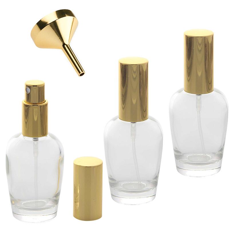 Kosmetex Parfümflakon Glas mit Zerstäuber, 30ml Flakon Flaschenform für Parfum, Colognes, leer 3 x gold + Trichter