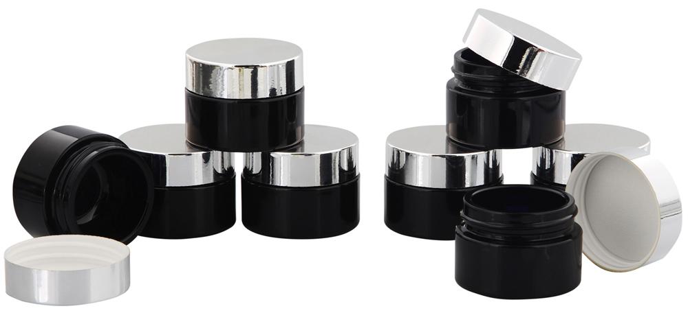 Violett Glas-Tiegel m. Deckel, 15 ml Kosmetex Kosmetik-Tiegel, Salbentiegel, Cremedose 8× silber