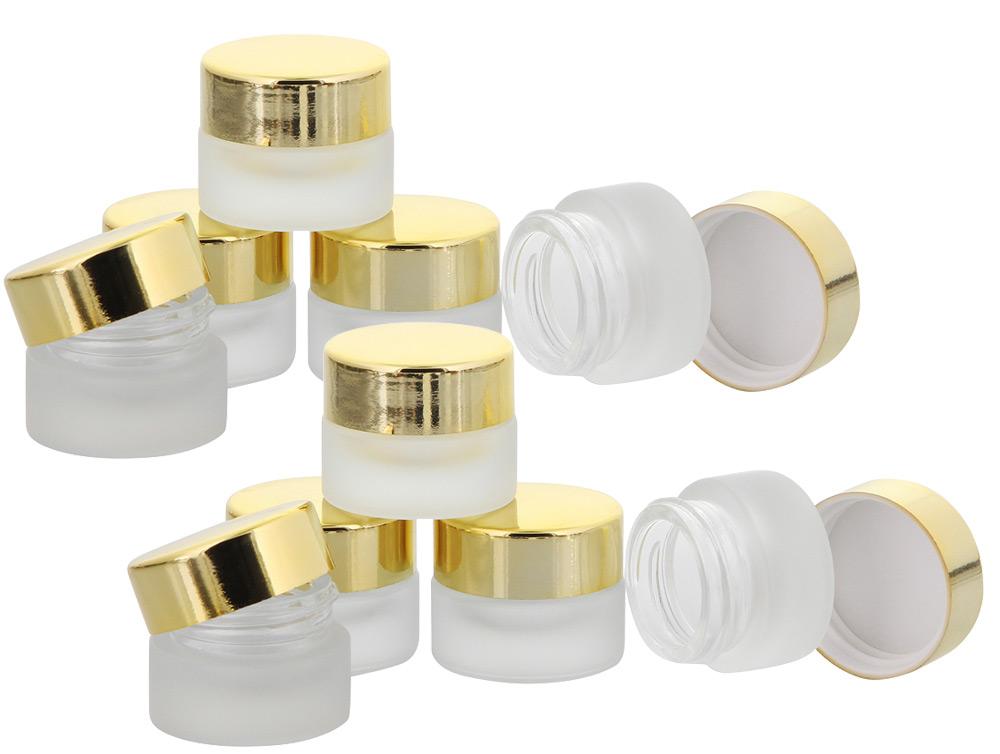 Matt Glastiegel 15ml m. gold Kunststoff-Deckel, Leerer Tiegel, Kosmetex Glasdose 10× gold