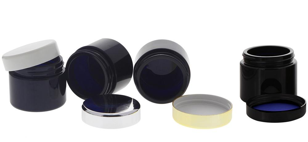Violett Mironglas-Tiegel 50ml mit Deckel, Leere Glas-Dose Kosmetex Violettglas Kosmetik-Dose, Miron Salbentiegel, Cremedose
