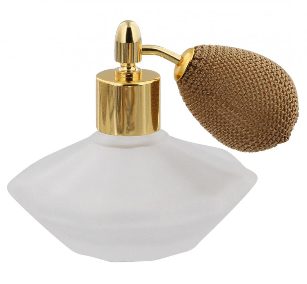 Flakon Matt-Glas mit gold..BallPumpe, 50ml, Kosmetex Parfum. Gesichtswasser, Parfüm-zerstäuber, leer Matt - Gold