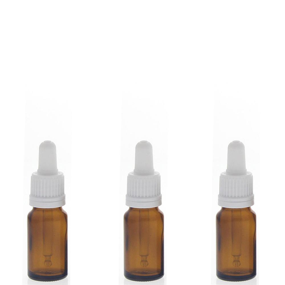 Braunglasflasche mit Pipette, 10ml leere braune Kosmetex Glasflasche, Pipettenflasche mit kompletter Pipettenmontur. 3× 10 ml