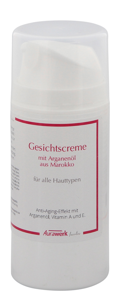 Aurawerk 24 Std. Gesichtscreme 100ml mit Arganöl aus Marokko f. alle Hauttypen, Airless-Spender 100 ml