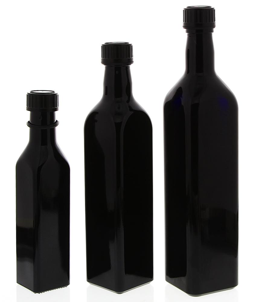 Mironglas Ölflasche Eckig, Violett-Glas, Essig-Flasche, Kosmetex Lichtschutz-Flasche, Wasserflasche Miron eckig