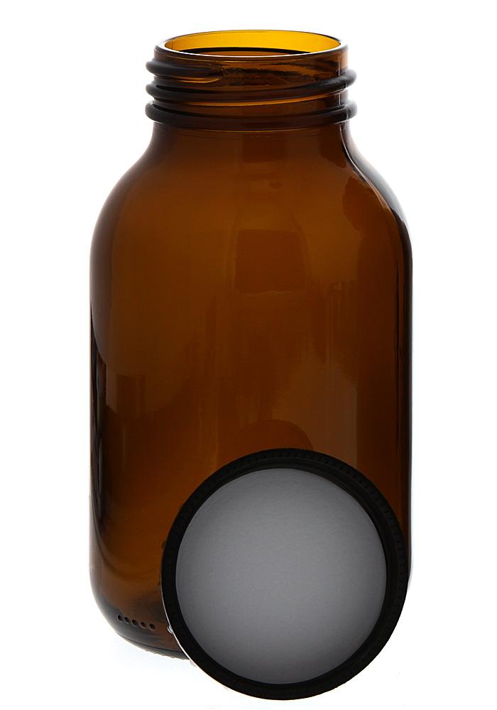 Weithalsflasche, Braunglasflasche m. Kunststoff-Deckel, leer Kosmetex Glasdose, Flasche, 500 ml 1× 500 ml