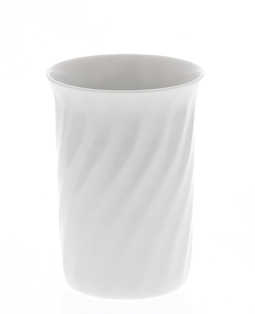 Zahnputzbecher Rondo Porzellan weiß gedreht, Kosmetex Becher Wirbel-Form Bad Accessoires
