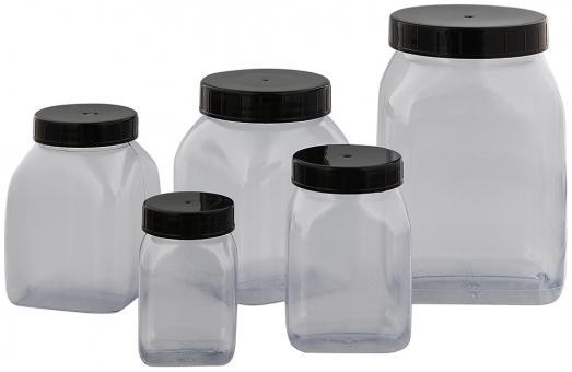 Vierkant-Weithals Behälter m. Schraubverschluss, Dose, Kunststoff Kosmetex Schraubdose, Plastik-Dose, leer