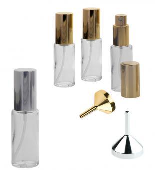 Kosmetex Runder Klarglas Flakon 20 ml Volumen mit Zerstäuber