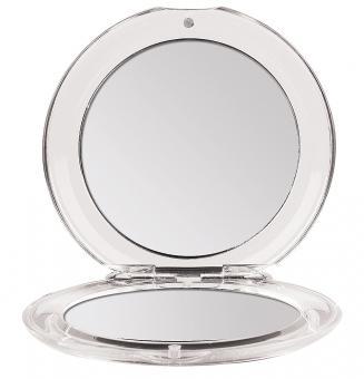Klappbarer Runder Doppel Taschen-Spiegel Kosmetex Ø 8.5 cm mit 3-fach Vergrößerung, Acryl, Kunststoff