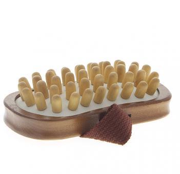 Anti-Cellulitebürste Massage Handbürste mit Holznoppen für Trockenmassage und Nassmassage