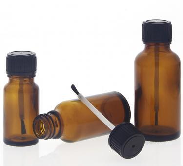 Braune Glas Pinselflasche, Kosmetex lichtschützende Braunglas Flasche mit Pinsel