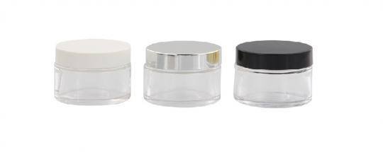 Klarglastiegel m. Kunststoff-Deckel, 3 ml Leerer Tiegel, Kosmetex Glasdose