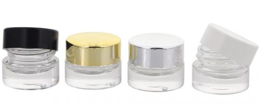 Klarglastiegel m. Kunststoff-Deckel, 5 ml Leerer Tiegel, Kosmetex Glasdose