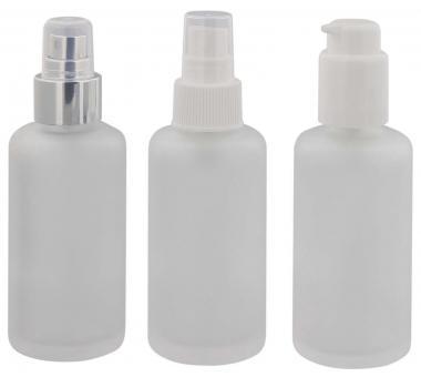 Mattglas, Gel-Spender Flasche, m. weißer Lotionspender, 100 ml Kosmetex Glas-Flasche, Flakon, leer