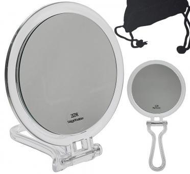 Kosmetex Reise Stand- und Handspiegel mit 10-fach Vergrößerung, Acryl, 2 Spiegelflächen, Kosmetik-Spiegel