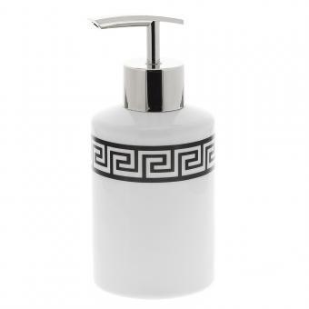 Seifenspender Dekor Mäander Pump-Spender Kosmetex Porzellan mit schwarzem Mäanderdekor