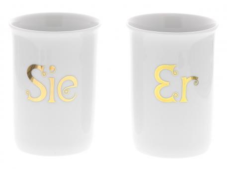 """Zahnputzbecher SIE oder ER, weißes Porzellan Schriftzug 18 Karat Gold, Kosmetex Garnitur f. Bad Accessoires """"Bianca"""""""