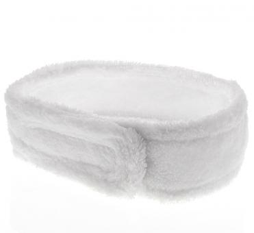 Kosmetik Mikrofaser Haarband, Kosmetex Stirnband weiß, Klettverschluss, Haarschutz bei Schminken, Sport, Yoga, 68cm