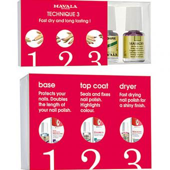 MAVALA Technique, 3 teiliges Maniküre Set, Unterlack, Überlack und Schnelltrockner, 3× 5 ml