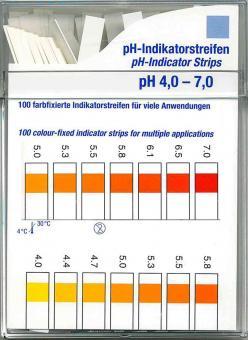 Farbfixierte Indikator-Streifen Test 100 Stck. Indikatorstäbchen Kosmetex zur pH-Messung 4 - 7 von Vaginalsekret