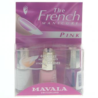 Mavala French Manicure PINK Nagellack mit Schablonen Set 3x 5 ml