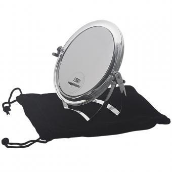 Kosmetex Reise-Spiegel 11cm Standspiegel mit 15-fach Vergrößerung RS 1:1, Acryl mit Metallbügel, Kosmetik-Spiegel