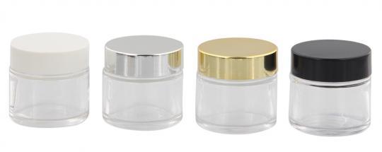 Klarglastiegel m. Kunststoff-Deckel, Glasklar, 30 ml Leerer Tiegel, Kosmetex Glasdose