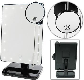 stellspiegel mit led beleuchtung kosmetex tisch spiegel drehbar kosmetik. Black Bedroom Furniture Sets. Home Design Ideas