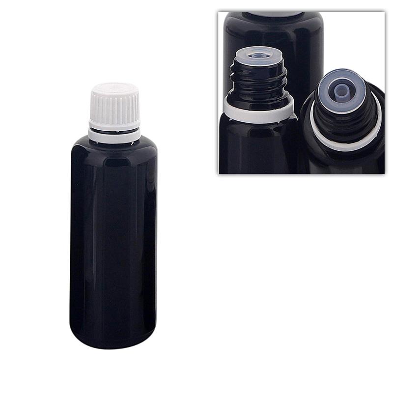 Kosmetex Violett-Glas Flasche für Tropfen, mit Tropfer DIN 18 Gewinde, Mironglas-Flasche Tropfelflasche 50ml