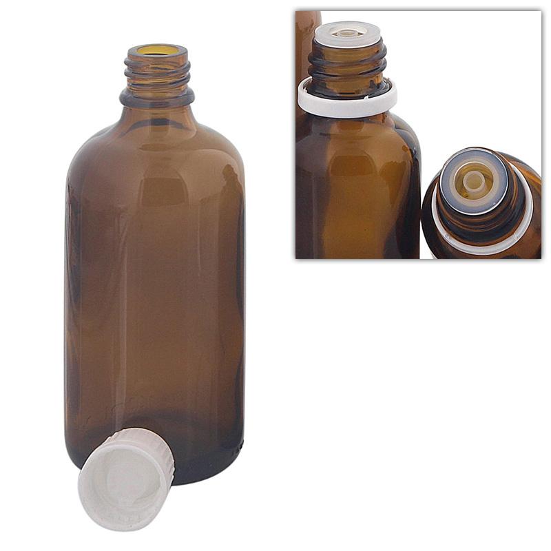 Kosmetex Braunglas Flasche 100 ml mit Tropfer DIN 18 Gewinde, Tropfflasche für Tropfen